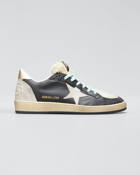 Image 1 of 1: Mixed Leather Sneakers with Shearling Trim