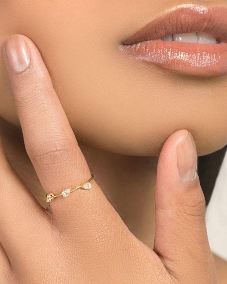 14k Solo Diamond Pear Wire Ring, Size 7