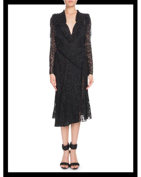 Valencienne V-Neck Long-Sleeve Midi Dress