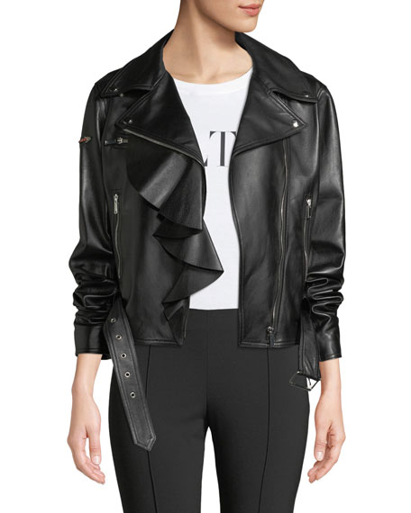 Napa Plonge Ruffle-Detail Leather Jacket w/ Love Story Heart on Sleeve