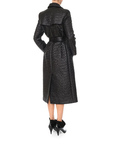 QUILTED TRENCH COAT W/SELF B