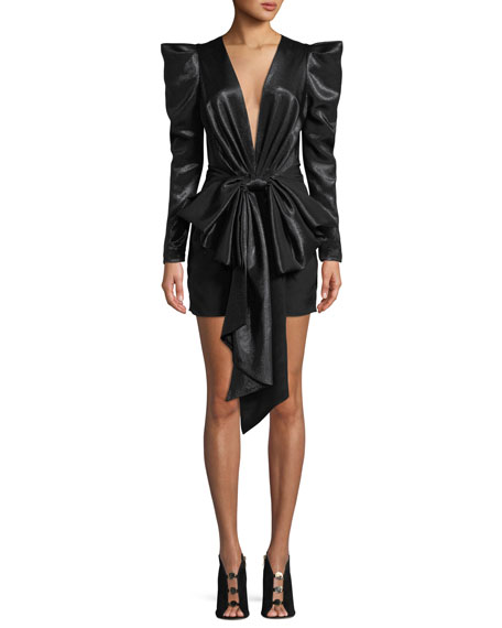 Alexandre Vauthier Exaggerated-Shoulder Bow-Waist Fitted Mini