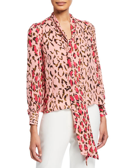 Image 1 of 1: Leopard Print Scarf-Neck Blouse