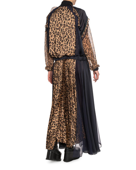 Leopard-Print Zip-Front Plisse Maxi Dress