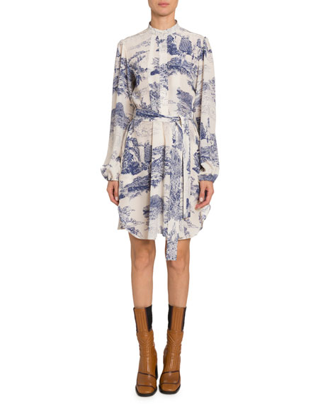 Image 1 of 1: Long-Sleeve Toile-Print Chiffon Dress