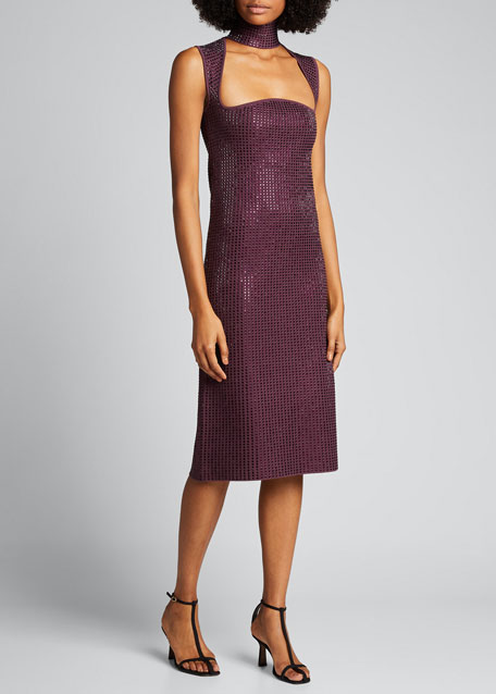 Mirrored Jersey Keyhole-Front Dress