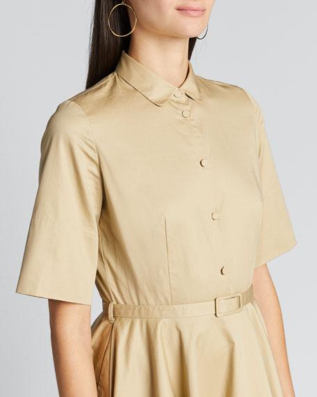 Poplin Flared Short-Sleeve Shirtdress
