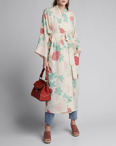 Floral-Print Crepe de Chine Peignoir Dress