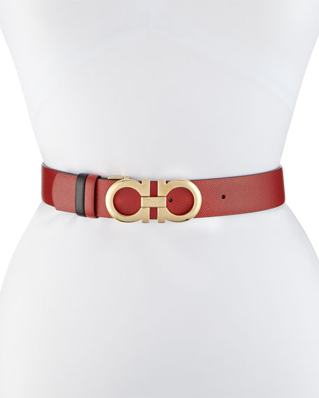Image 1 of 1: Gancini-Buckle Reversible Leather Belt