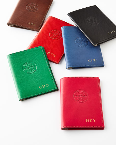 Image 1 of 1: Personalized Leather Passport Cover