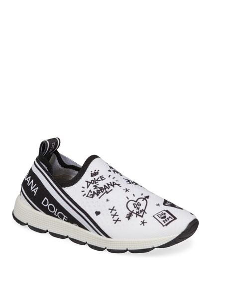 DG + NM Maglina Slip-On Knit Logo-Patch Sneakers, Kids