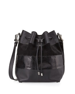 Leather & Python Paneled Bucket Bag, Black