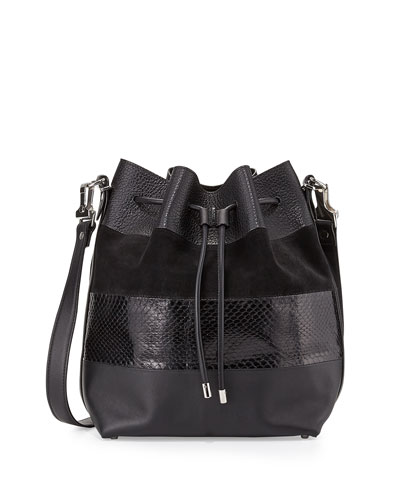 Leather & Python Paneled Bucket Bag