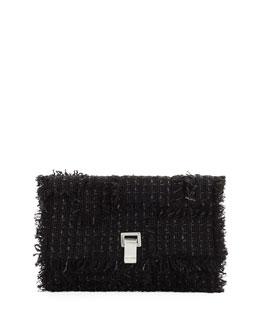 Small Lunch Frayed Tweed Clutch Bag
