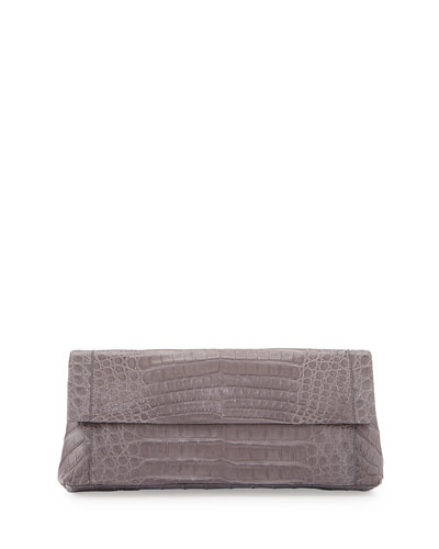 Back-Pocket Crocodile Clutch Bag