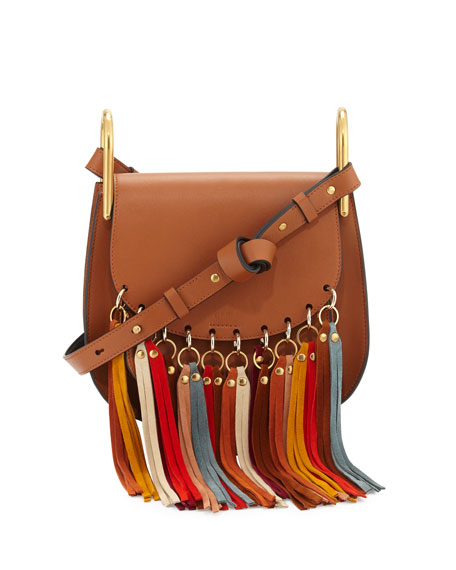 Chloe Hudson Fringe-Trim Leather Shoulder Bag, Caramel
