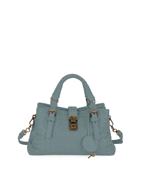 Roma Small Woven Leather Satchel Bag