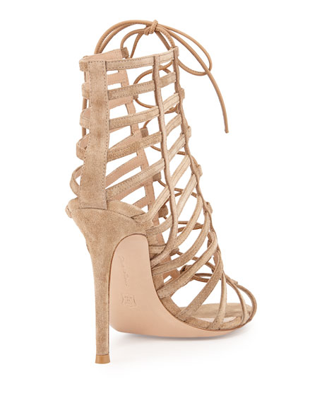 Suede Caged Lace-Up Sandal