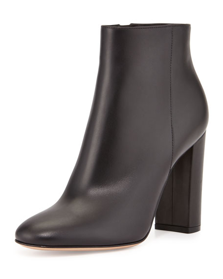Chunky-Heel Leather Ankle Boot