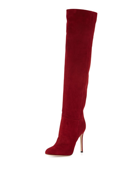 Suede Almond-Toe Over-The-Knee Boot