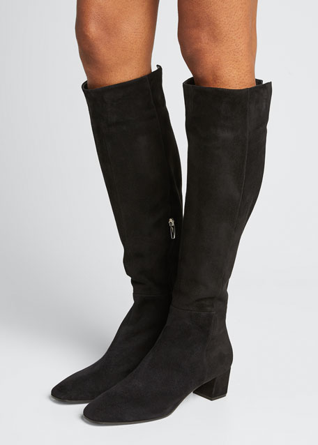 Low-Heel Suede Knee Boot