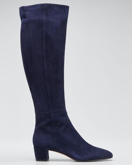 Suede Block-Heel 45mm Knee Boot