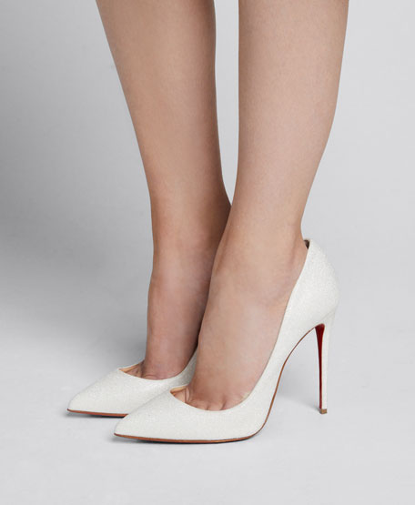 Pigalle Follies Glittered Red Sole Pumps, White