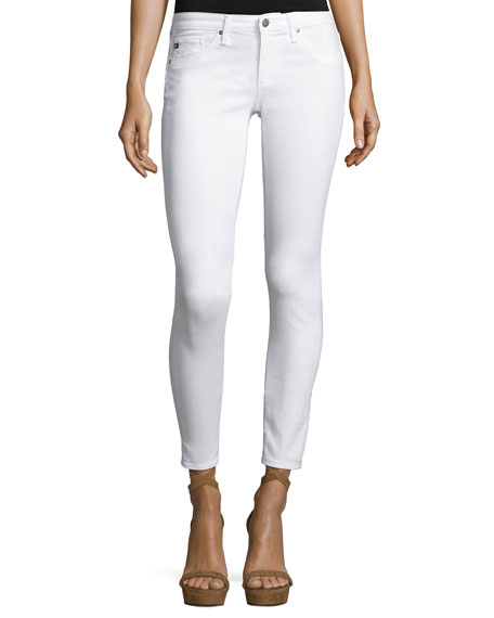 Distressed Skinny Ankle Jeans, One Year White