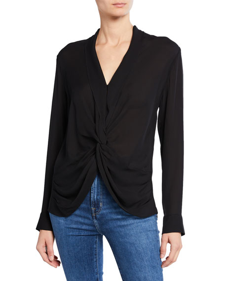 Image 1 of 1: Mariposa Silk Crossover Blouse