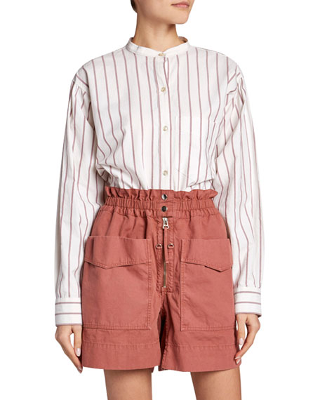 Image 1 of 1: Satchell Striped Band-Collar Button-Down Top