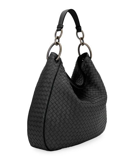 Large Loop Intrecciato Leather Shoulder Hobo Bag
