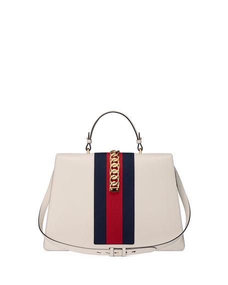 Sylvie Chain-Trim Top-Handle Bag
