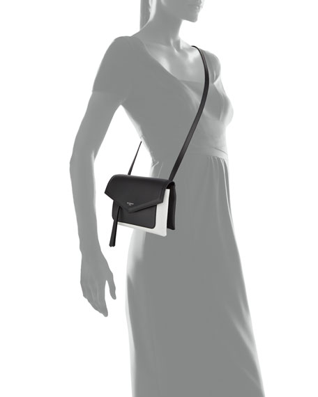 Duetto Leather Crossbody Bag, Black/White
