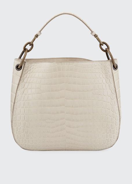 Soft Crocodile Loop Hobo Bag