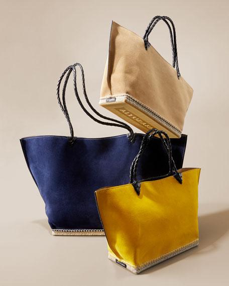 Espadrille Large Suede Shoulder Tote Bag
