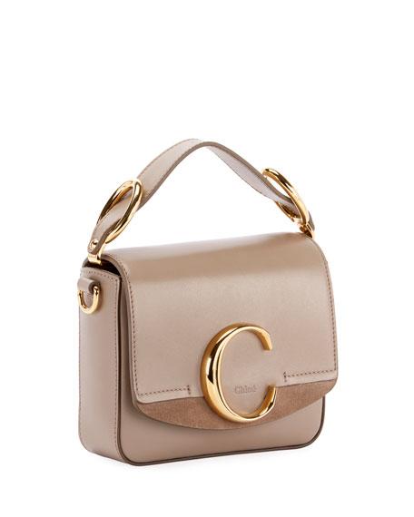 C Mini Shiny Leather Shoulder Bag