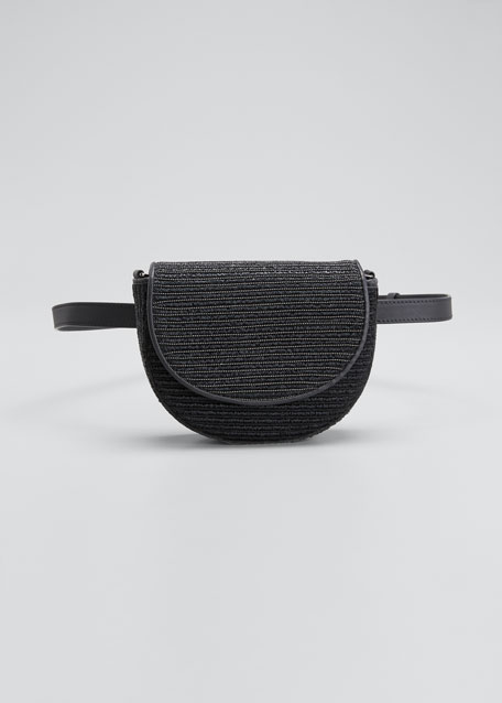 Image 1 of 1: Raffia and Monili Striped Half-Moon Crossbody/Belt Bag
