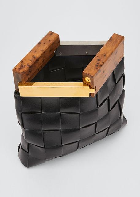 Fold-Over Wood Top Clutch Bag