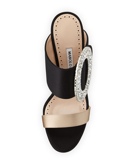 Fibiona Crystal-Buckle Satin Mule Sandal