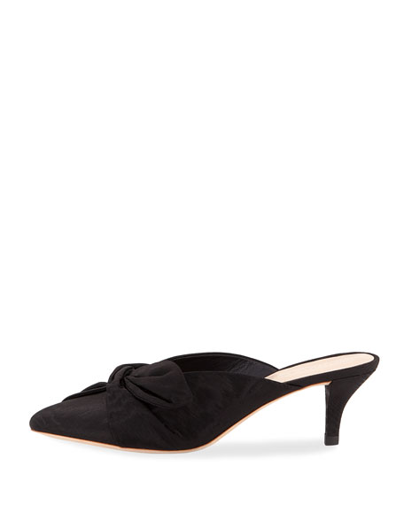 Jade Moire Kitten-Heel Mules with Bow