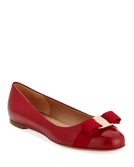 Varina Patent Bow Ballet Flats, Rosso (Red)