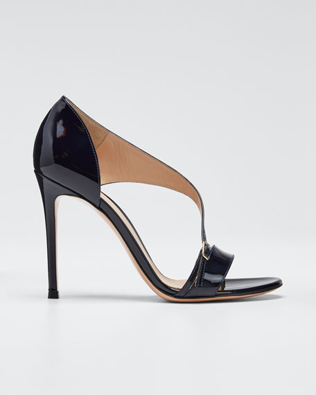 Patent Cross-Strap Sandals, Navy