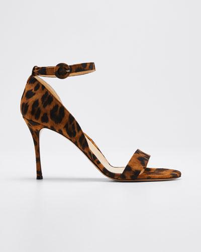 Larkspur Leopard-Print Suede Sandals