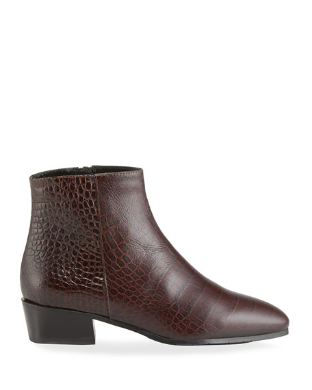 Fuoco Embossed Leather Booties