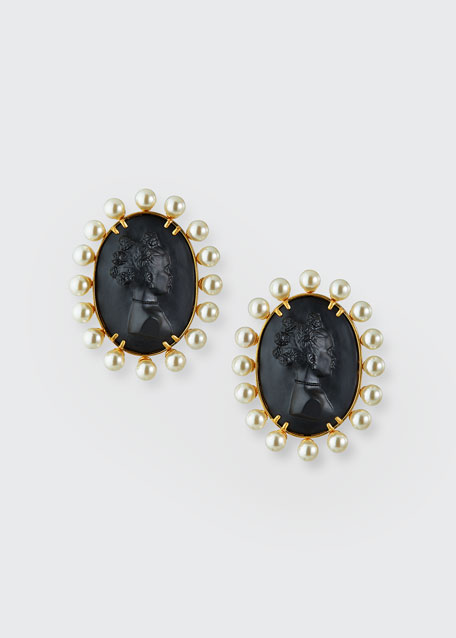 Image 1 of 1: Cameo Post Earrings, Black
