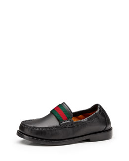 Toddler Leather Loafer with Web Detail, Black