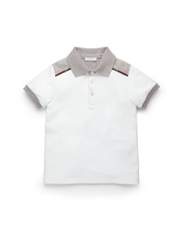 Short-Sleeve Colorblock Polo, White/Gray, Kids' Sizes 4-12