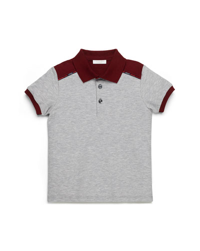 Short-Sleeve Colorblock Polo, Gray/Burgundy, Kids' Sizes 4-12
