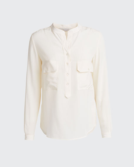 Two-Pocket Button-Placket Long-Sleeve Silk Blouse