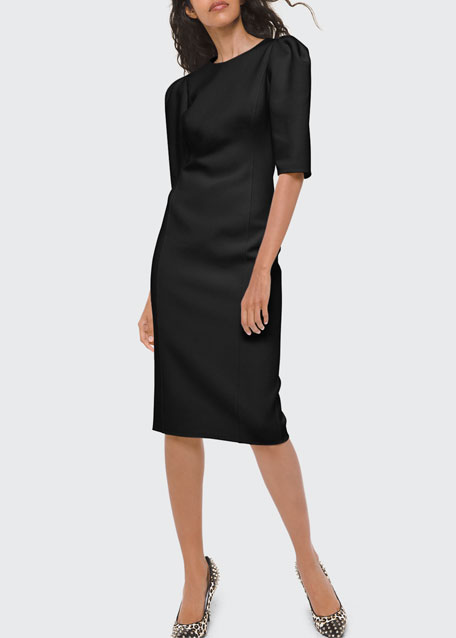Image 1 of 1: Puff-Sleeve Sheath Dress